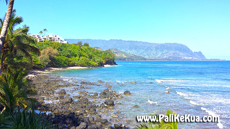 Looking West From Beach Path At Pali Ke Kua And Bali Hai Puu Poa Condos Can Be Seen On The Ridge Above Beaches Map